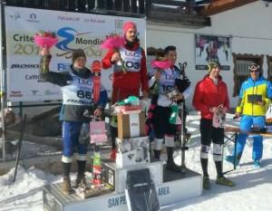 Il podio dello slalom