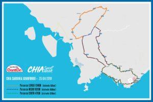 La mappa dei percorsi della Ganten Chia Granfondo 2019